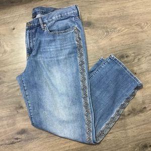 Eddie Bauer Embroidered Crop Jeans Size 12